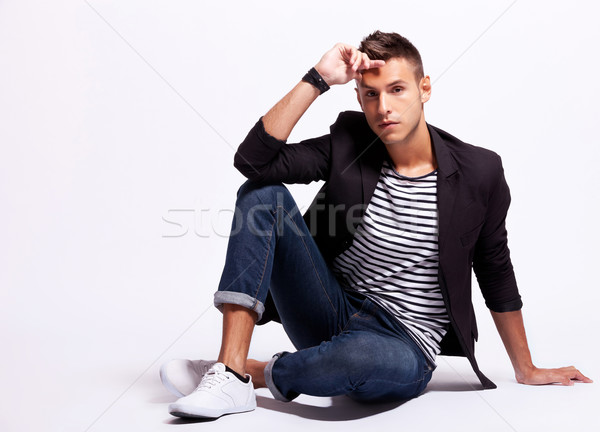 seated fashion male model Stock photo © feedough