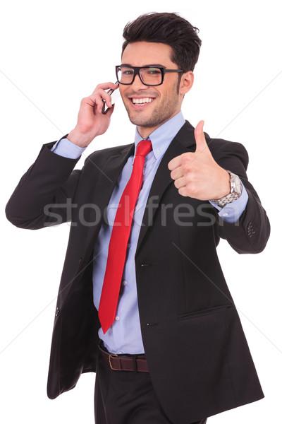 ストックフォト: ビジネスマン · 電話 · カットアウト · 画像 · 小さな
