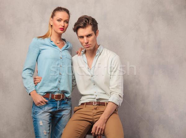 пару позируют сидящий красивой студию Сток-фото © feedough