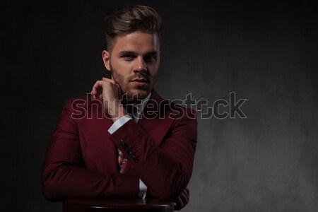 Sensual homem jaqueta de couro para baixo Foto stock © feedough