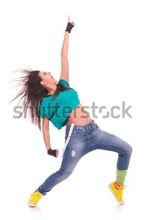 Mujer hermosa bailarín hip hop plantean aislado Foto stock © feedough