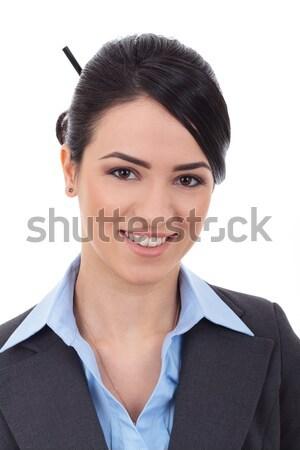 портрет довольно молодые деловой женщины смеясь белый Сток-фото © feedough