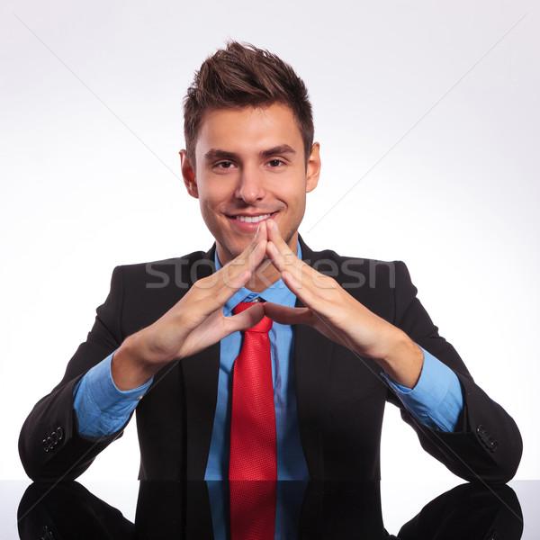 человека таблице рук вместе молодые деловой человек Сток-фото © feedough