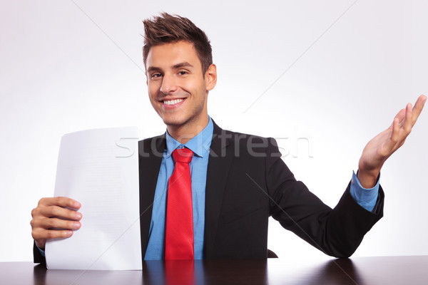 Uomo desk giovani uomo d'affari seduta Foto d'archivio © feedough