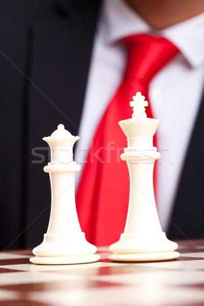 Blanco rey del ajedrez reina negocios traje hombre de negocios Foto stock © feedough