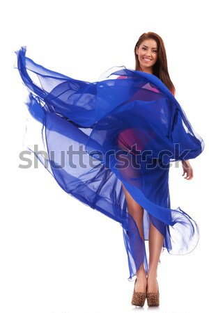 Vrouw model jurk schreeuwen jonge sexy vrouw Stockfoto © feedough