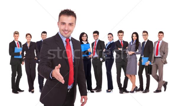 Сток-фото: деловой · человек · рукопожатие · жест · команда · изолированный · успешный