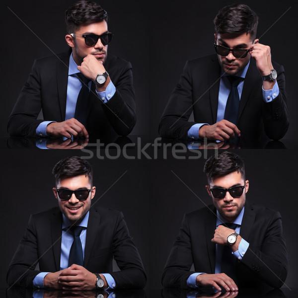 Giovani uomo d'affari collage pensieroso contenuti Foto d'archivio © feedough