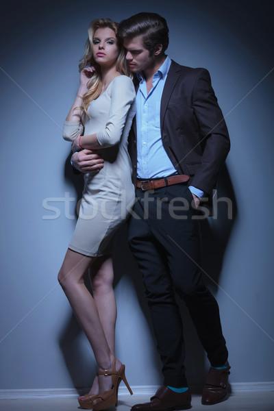 flirting fashion couple standing embraced Stock photo © feedough
