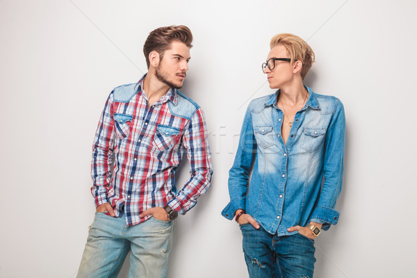relaxed casual young men looking at eachother  Stock photo © feedough