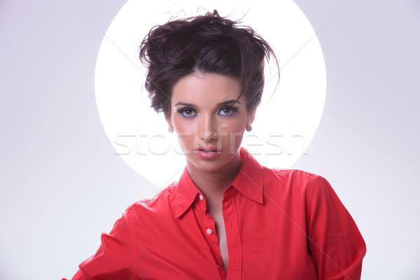 Jonge vrouw aura rond hoofd Stockfoto © feedough