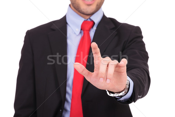Homme d'affaires imaginaire écran portrait jeunes toucher Photo stock © feedough