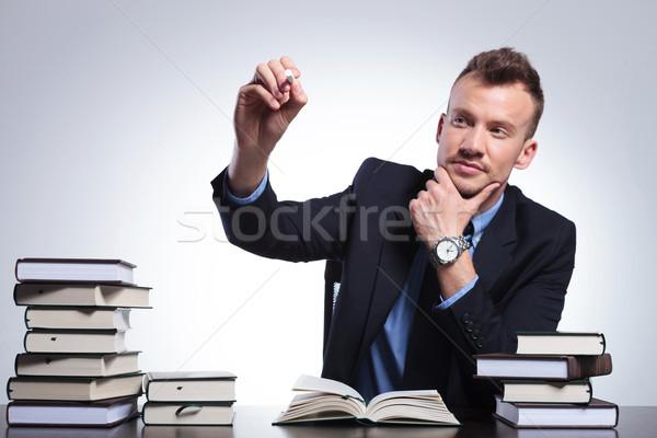 Homme d'affaires imaginaire écran portrait jeunes bureau Photo stock © feedough