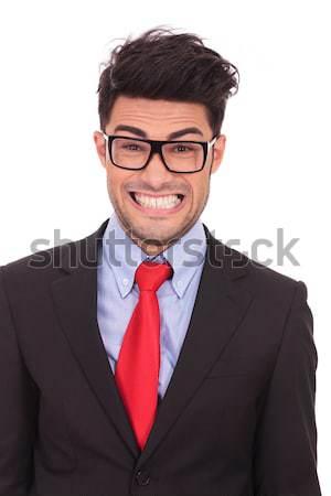 Kopasz üzletember visel szemüveg pózol elegáns Stock fotó © feedough