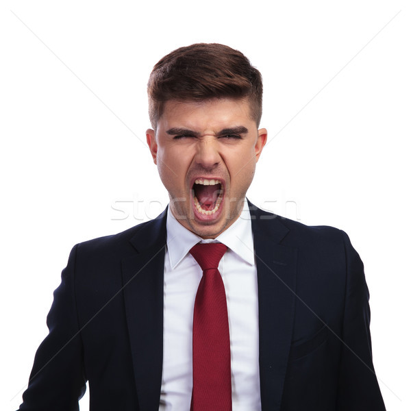 portrait of angry businessman yelling at his employees Stock photo © feedough