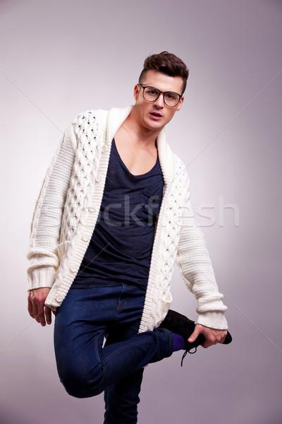fashion man standing on one leg Stock photo © feedough