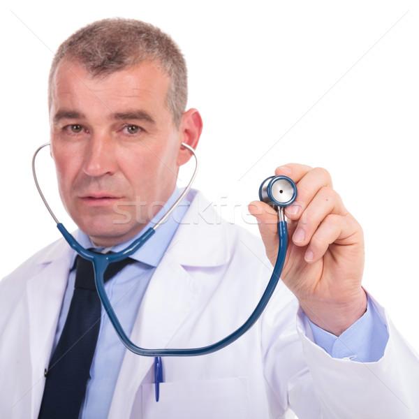 Zdjęcia stock: Poważny · starych · lekarza · konsultacja · stetoskop