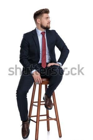 Divat férfi pihen zsámoly jóképű fiatal Stock fotó © feedough