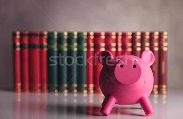 Foto stock: Escolas · feliz · olhando · piggy · bank · em · pé