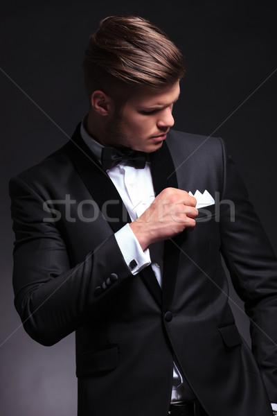 Homem de negócios peito bolso elegante jovem Foto stock © feedough