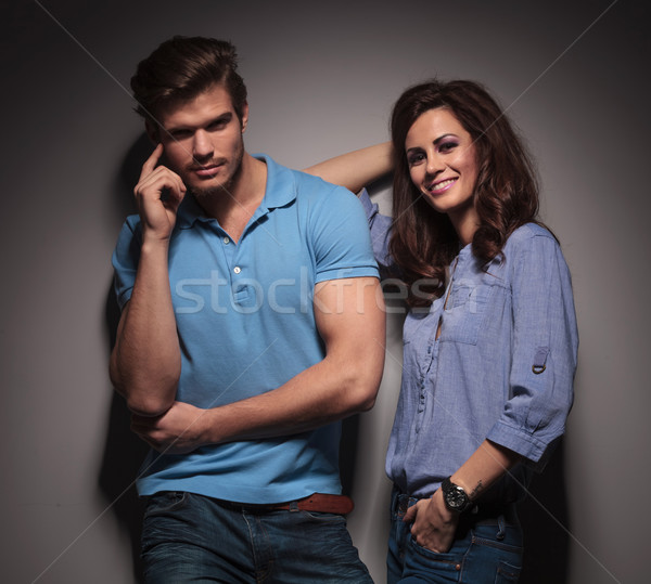 Beautiful fashion woman leaning on her lover Stock photo © feedough