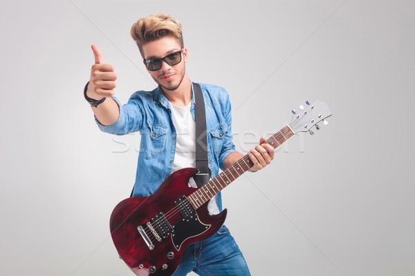 Foto stock: Homem · estúdio · guitarra · vitória