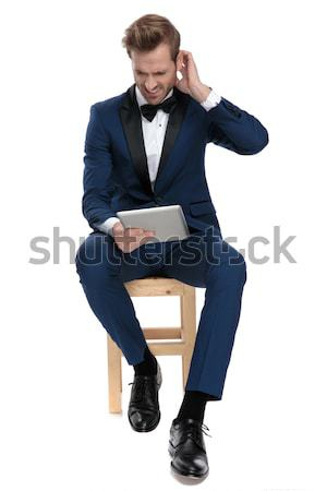 seated business man is thinking Stock photo © feedough