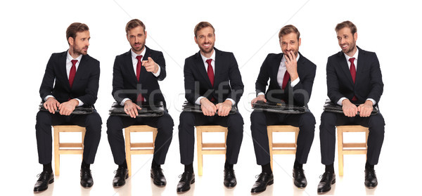 5 happy poses of a young businessman sitting  Stock photo © feedough