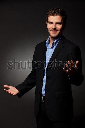 Teljes alakos kép kopott üzletember pihen zsámoly Stock fotó © feedough