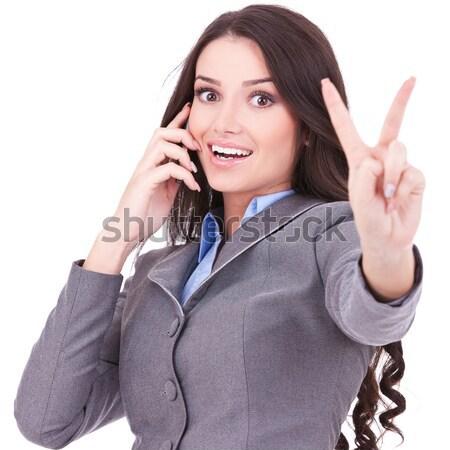 ülő nő beszél telefon győzelem felirat Stock fotó © feedough