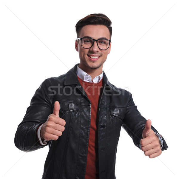 smiling smart casual man making the ok sign Stock photo © feedough