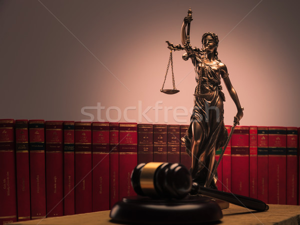 justice statue , law books and wooden gavel Stock photo © feedough