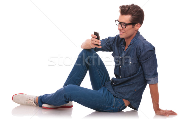 Homme étage jeune homme séance Photo stock © feedough