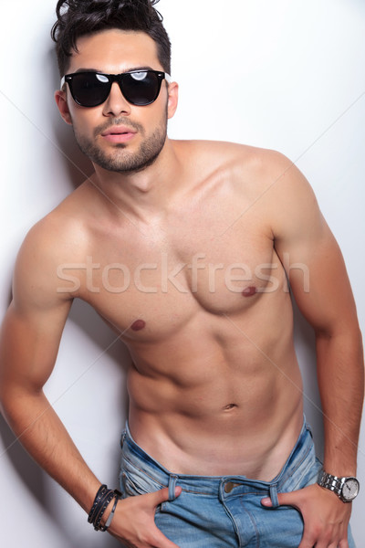 closeup of topless young man looking at you Stock photo © feedough