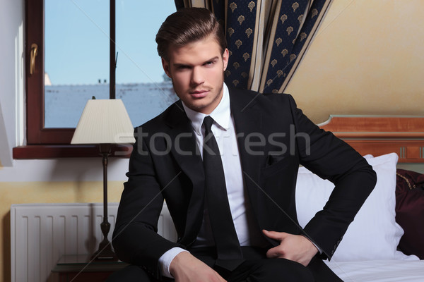 young business man sits by the window Stock photo © feedough