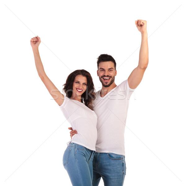 Boldog lezser pár ünnepel siker kezek Stock fotó © feedough