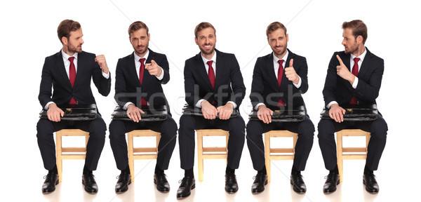 Cinco empresário sessão espera cadeira entrevista de emprego Foto stock © feedough