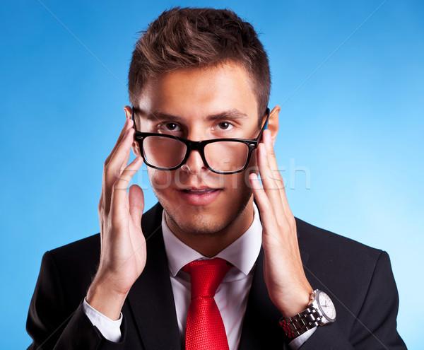Jovem homem de negócios nerd óculos engraçado retrato Foto stock © feedough