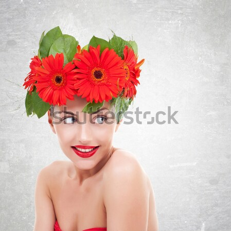 gorgeous seductive woman wearing flowers in her hair Stock photo © feedough