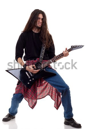 young woman in leather jacket playing electric guitar  Stock photo © feedough