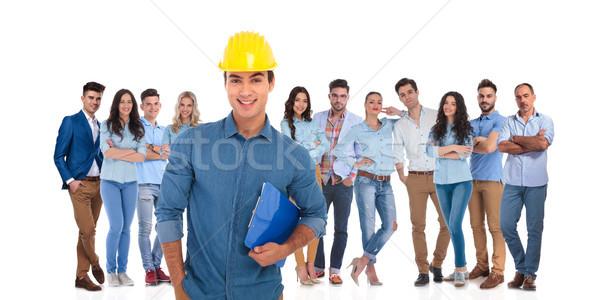 Ingeniería estudiante líder bloc de notas equipo Foto stock © feedough