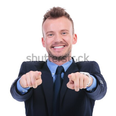 business man points at you with both hands Stock photo © feedough
