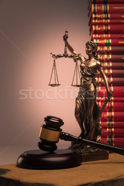 gavel, law books and justice statue Stock photo © feedough
