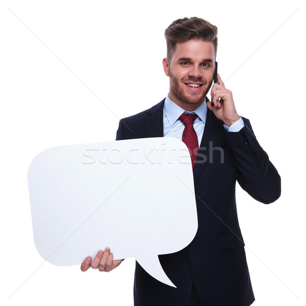 young handsome businessman with speech bubble talks on the phone Stock photo © feedough