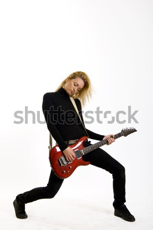 passionate guitarist jumps in the air  Stock photo © feedough