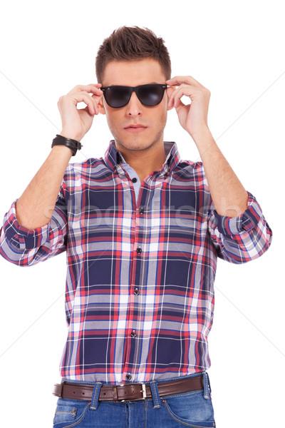 Stock foto: Mann · Sonnenbrillen · gut · aussehend · modernen · junger · Mann · isoliert