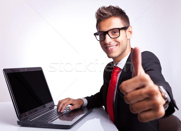 Iş adamı çalışma neden yandan görünüş dizüstü bilgisayar Stok fotoğraf © feedough