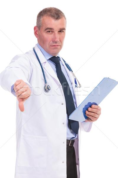 成熟した 医師 悪い知らせ 白 手 幸せ ストックフォト © feedough