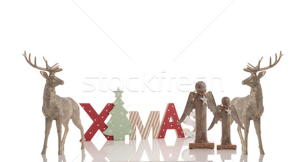 xmas wooden text, 2 reindeers and two angels Stock photo © feedough