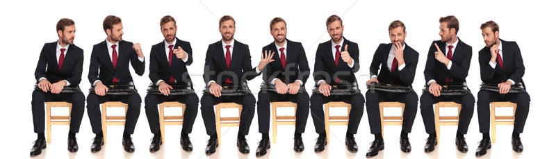nine of the same businessman waiting for a job interview  Stock photo © feedough